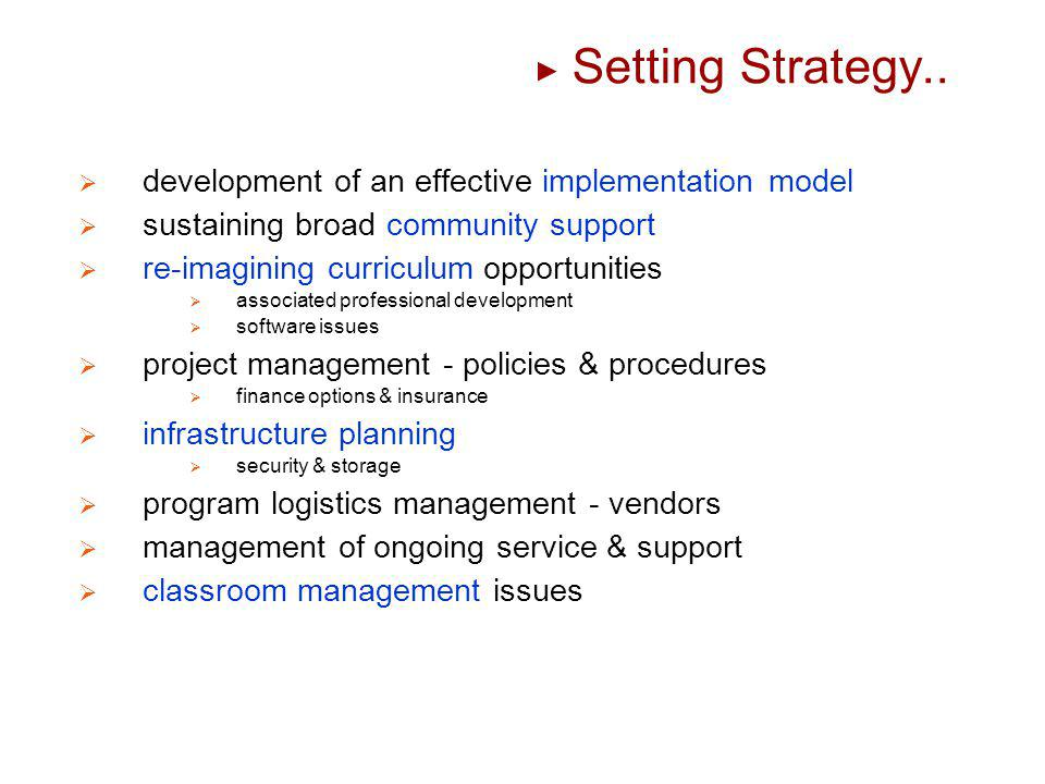 Setting Strategy.. development of an effective implementation model