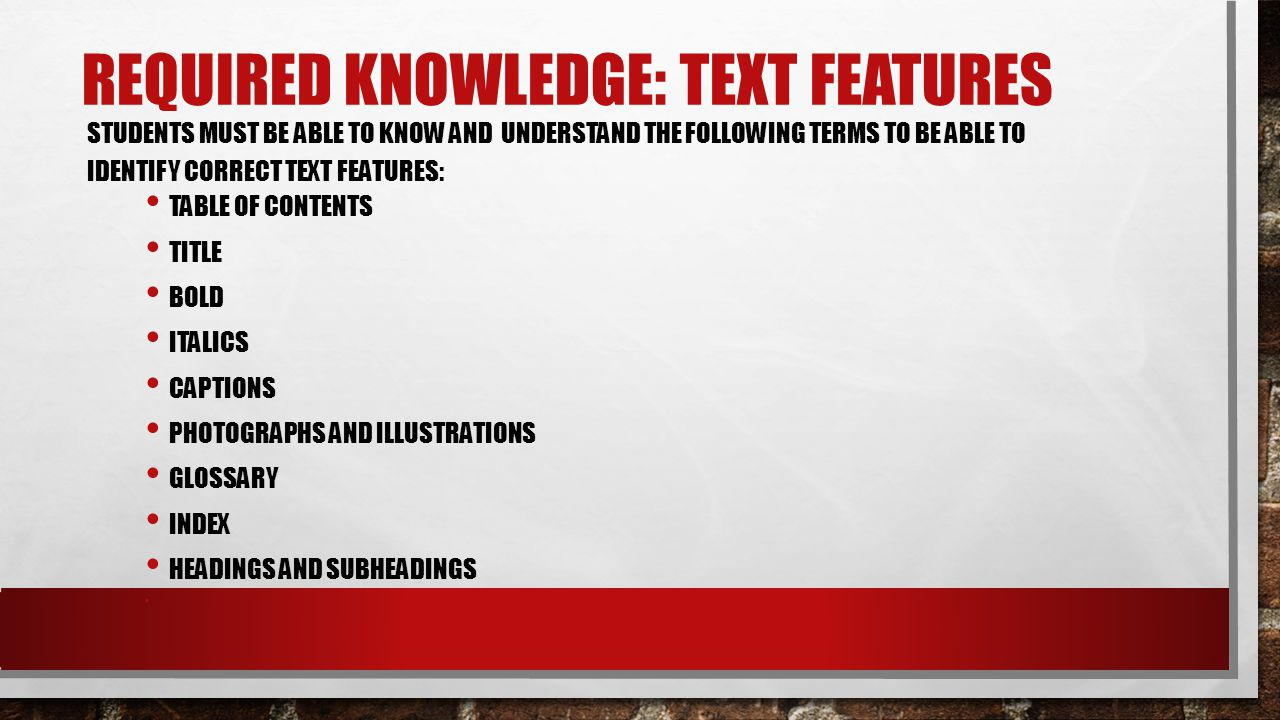Required knowledge: text features