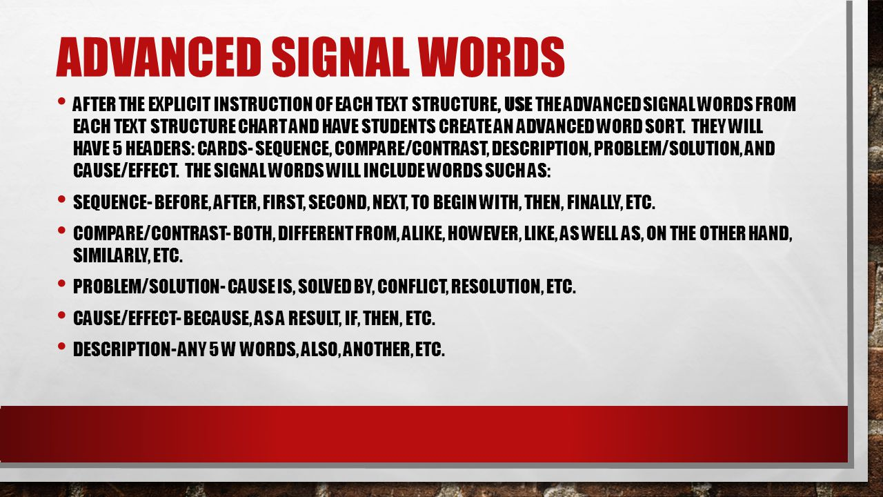 Advanced Signal Words
