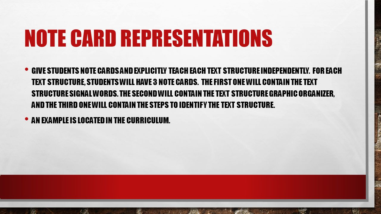 Note Card Representations