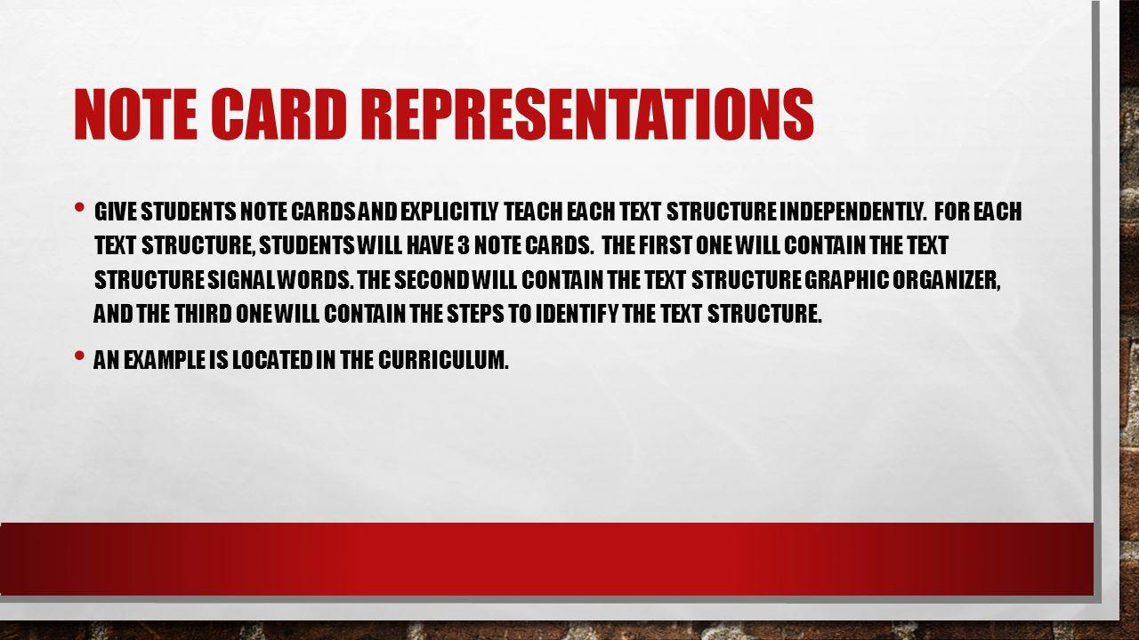 Note Card Representations