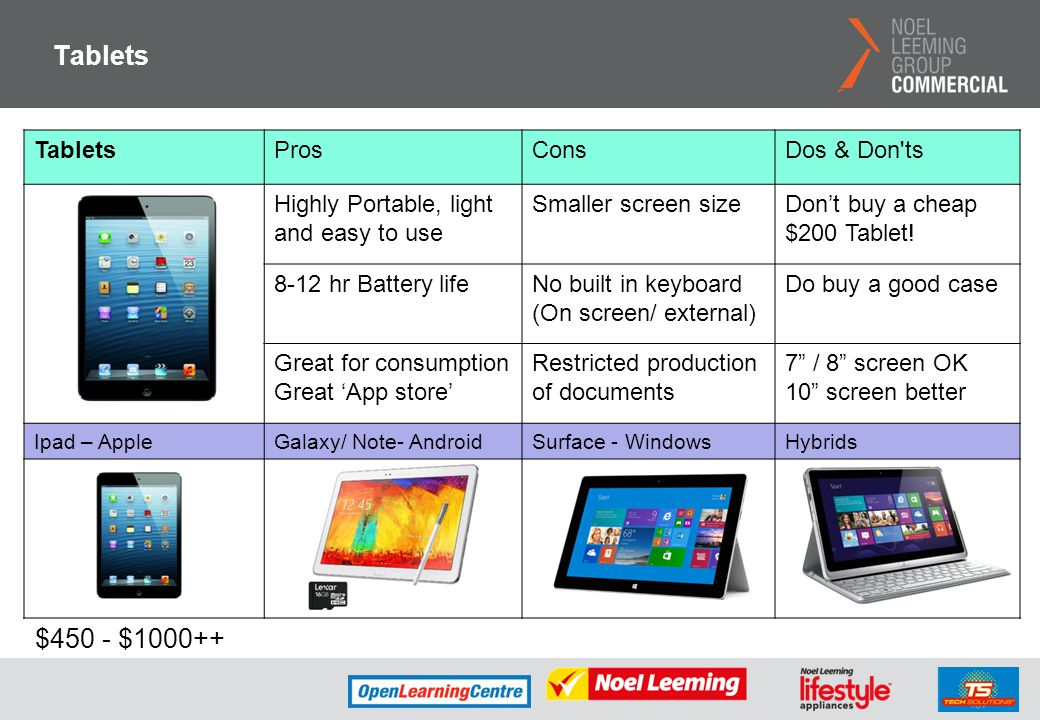 Tablets $450 - $1000++ Tablets Pros Cons Dos & Don ts