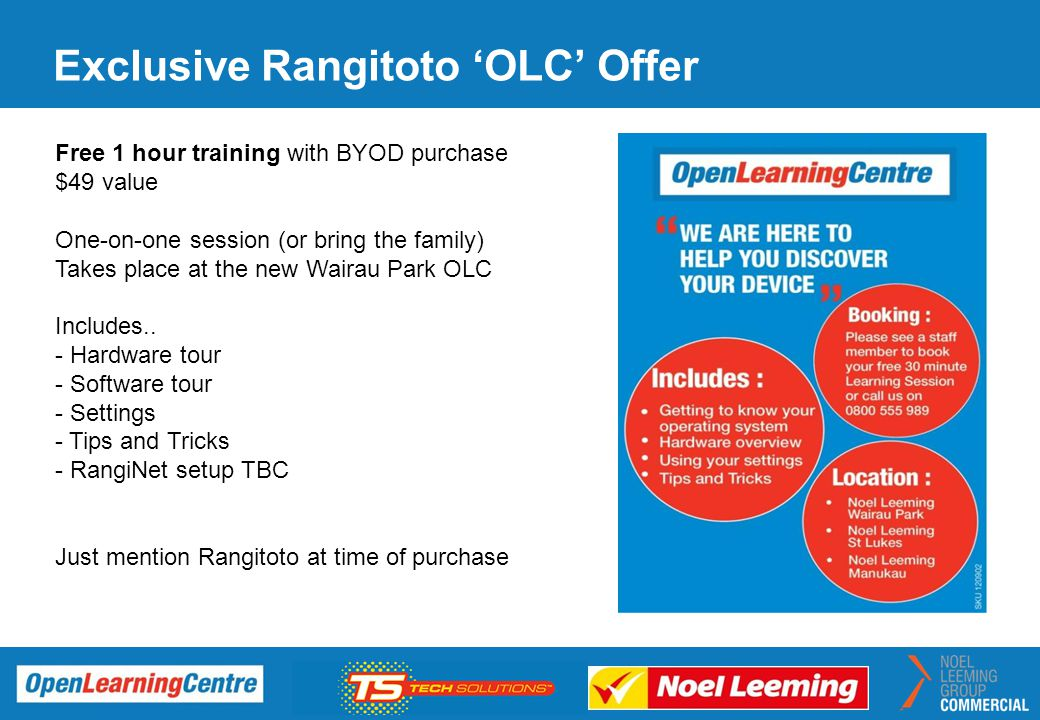 Exclusive Rangitoto 'OLC' Offer