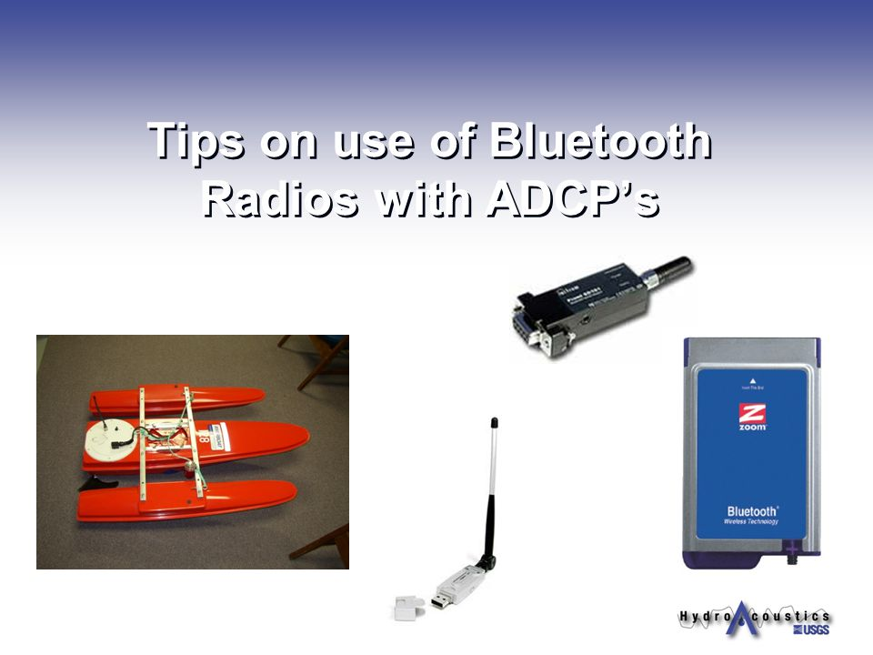 Tips on use of Bluetooth Radios with ADCP's