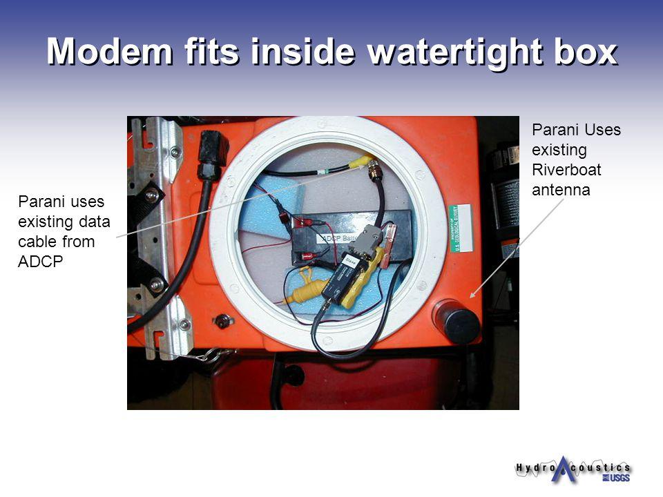 Modem fits inside watertight box