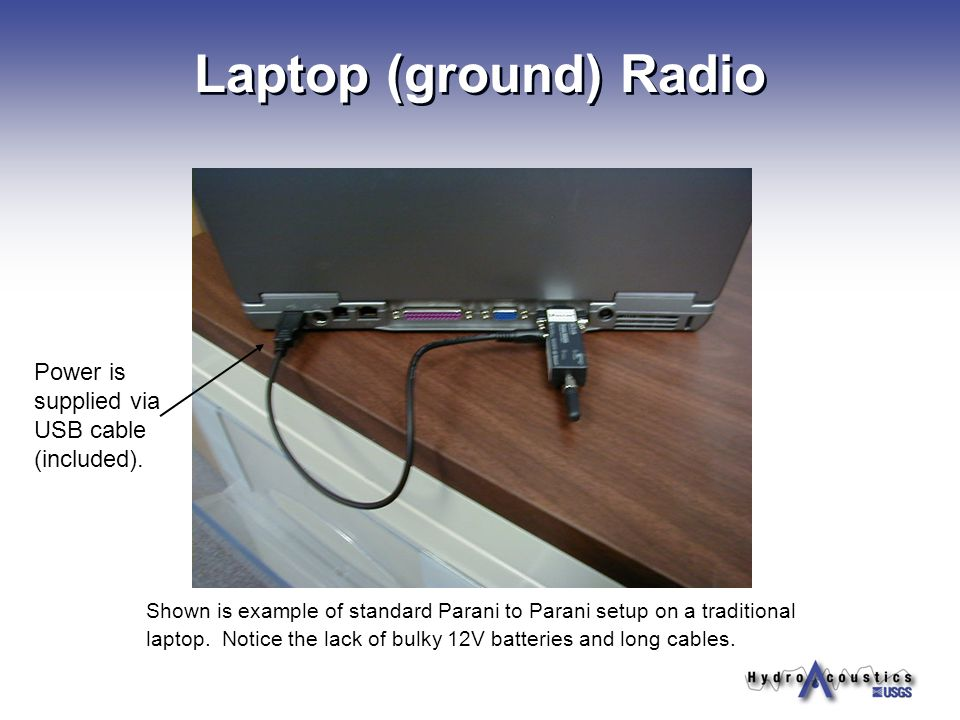 Laptop (ground) Radio Power is supplied via USB cable (included).