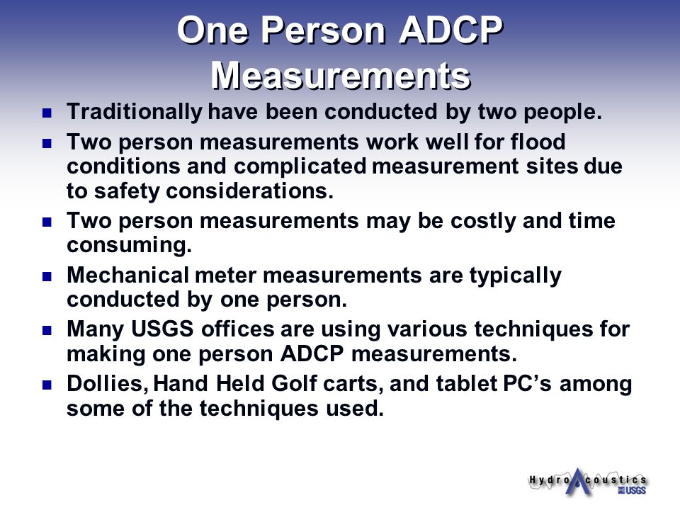 One Person ADCP Measurements