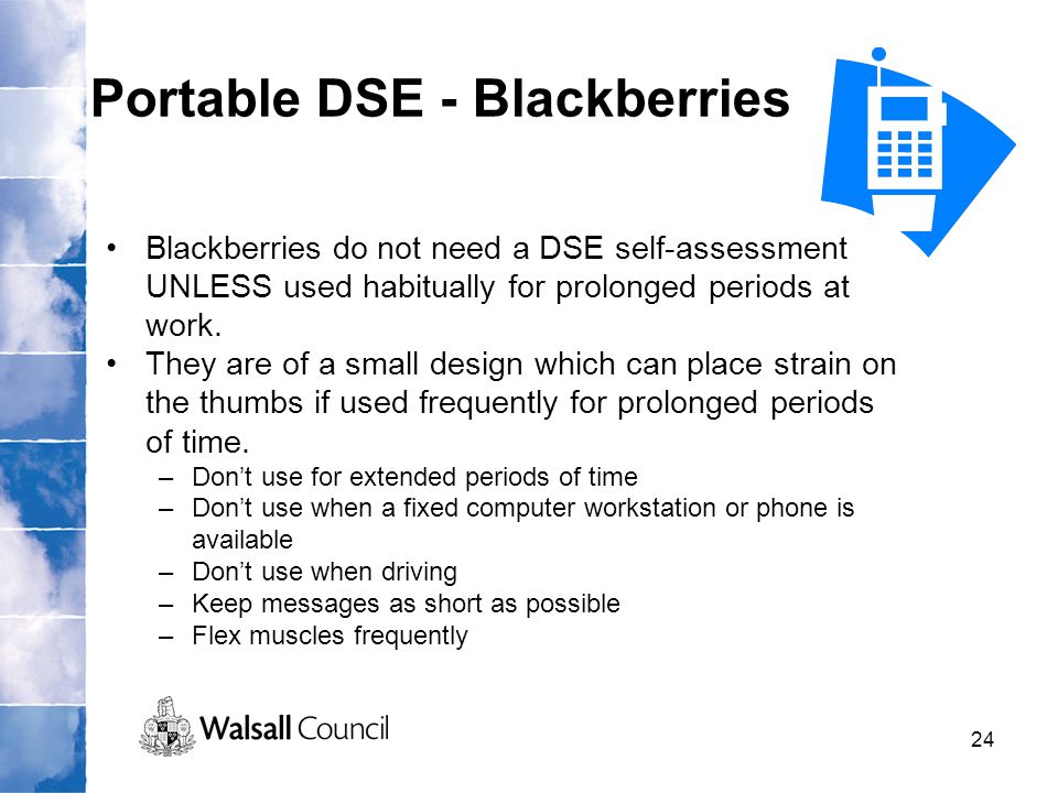 Portable DSE - Blackberries