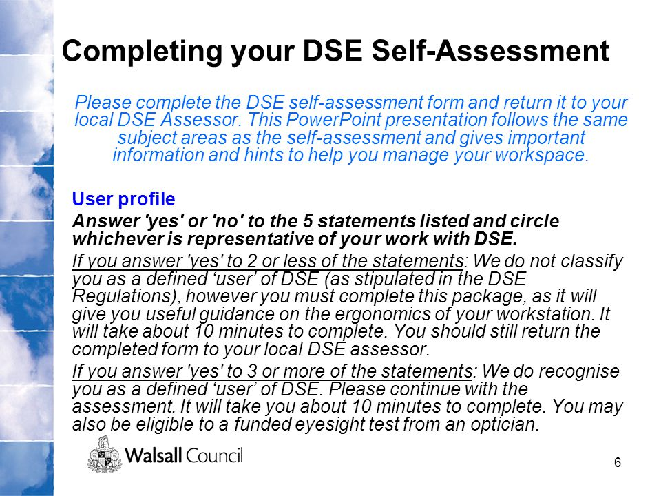 Completing your DSE Self-Assessment