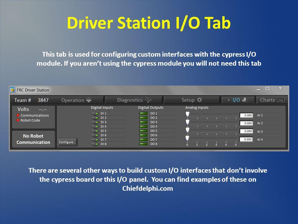 1616 Driver Station I/O Tab.