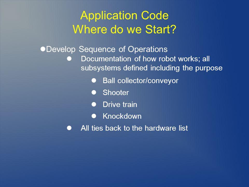 Application Code Where do we Start