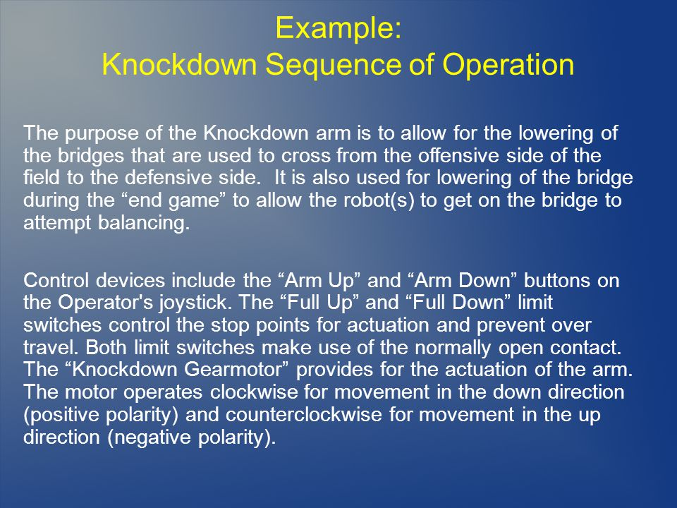 Knockdown Sequence of Operation