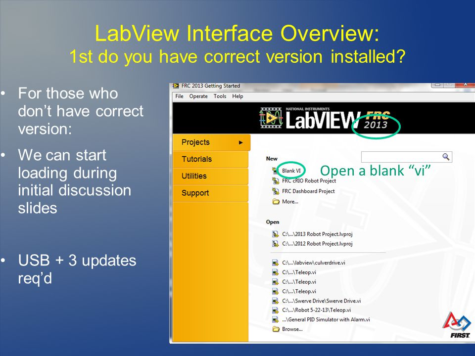 LabView Interface Overview: 1st do you have correct version installed