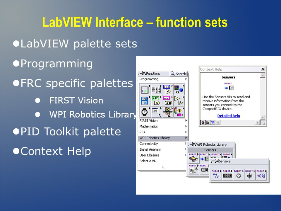 LabVIEW Interface – function sets