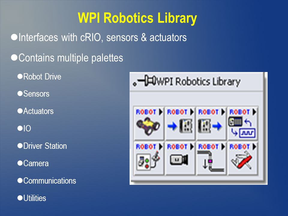 WPI Robotics Library Interfaces with cRIO, sensors & actuators
