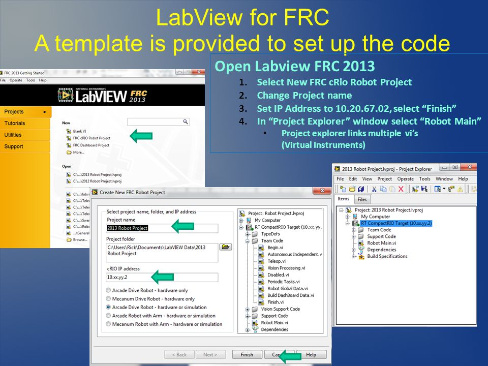 LabView for FRC A template is provided to set up the code