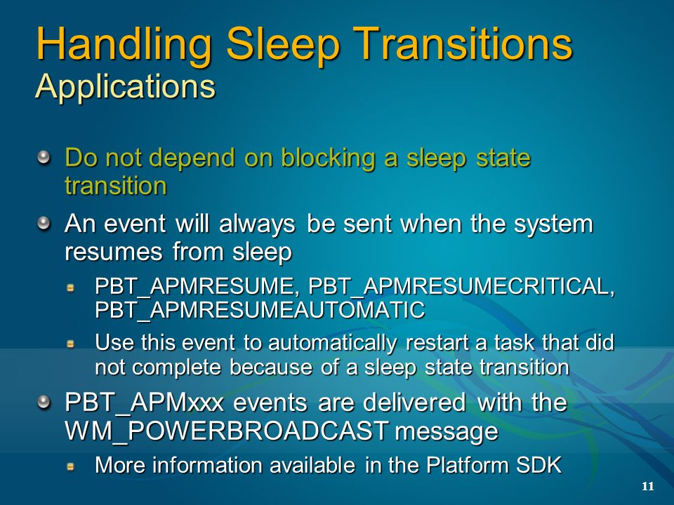 Handling Sleep Transitions Applications