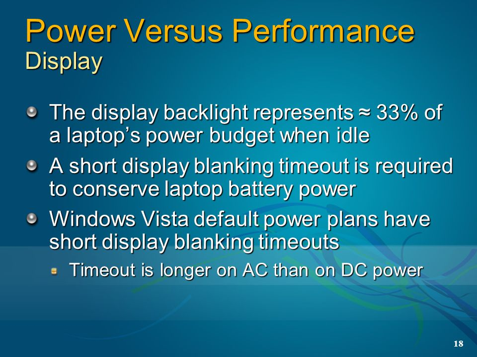 Power Versus Performance Display