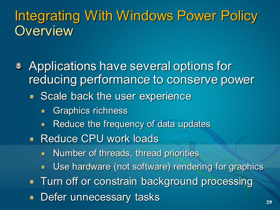 Integrating With Windows Power Policy Overview