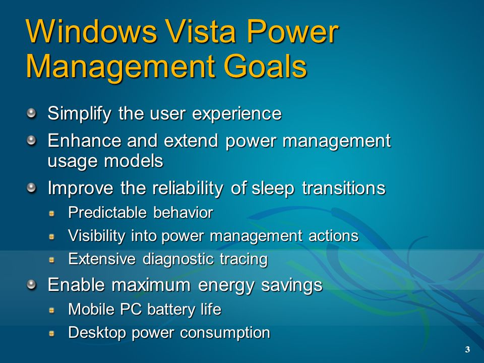 Windows Vista Power Management Goals