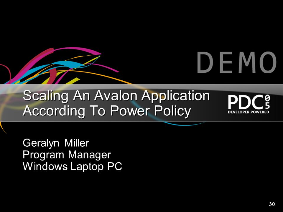 Scaling An Avalon Application According To Power Policy