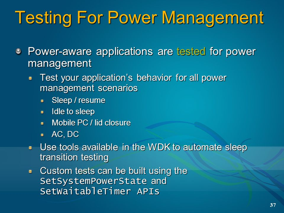 Testing For Power Management