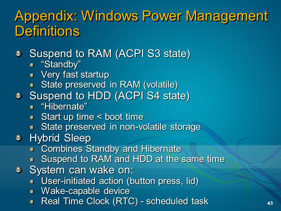 Appendix: Windows Power Management Definitions