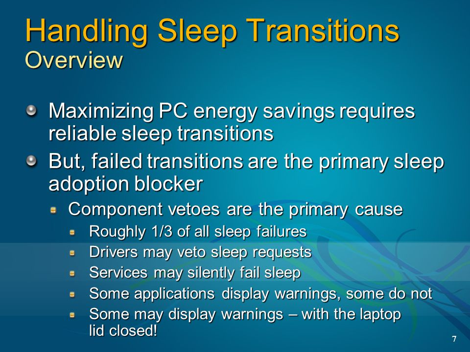 Handling Sleep Transitions Overview