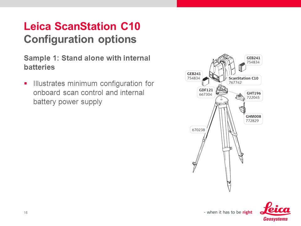 Leica ScanStation C10 Configuration options