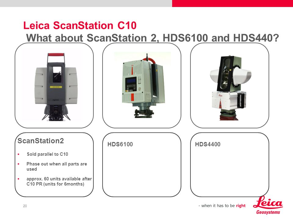Leica ScanStation C10 What about ScanStation 2, HDS6100 and HDS440