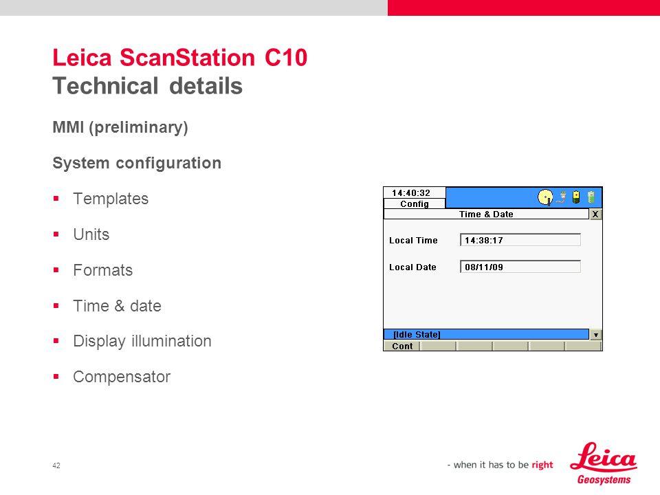 Leica ScanStation C10 Technical details