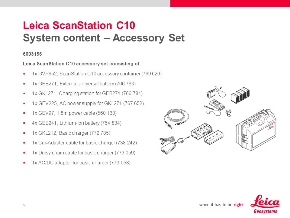 Leica ScanStation C10 System content – Accessory Set