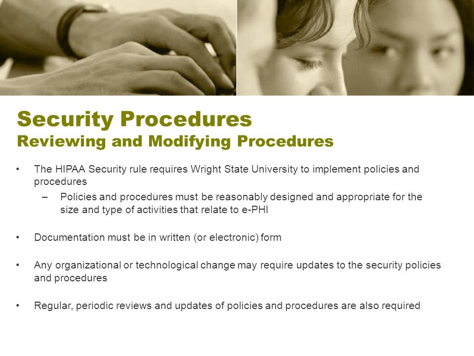 Security Procedures Reviewing and Modifying Procedures