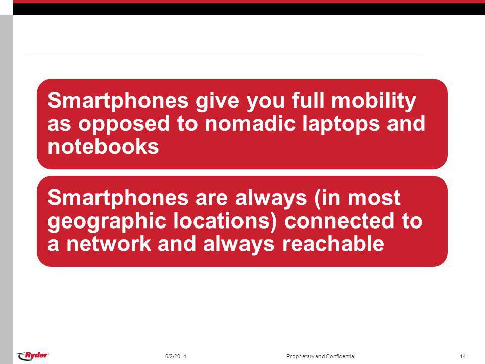 Smartphones give you full mobility as opposed to nomadic laptops and notebooks