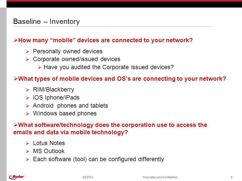 Baseline – Inventory How many mobile devices are connected to your network Personally owned devices.