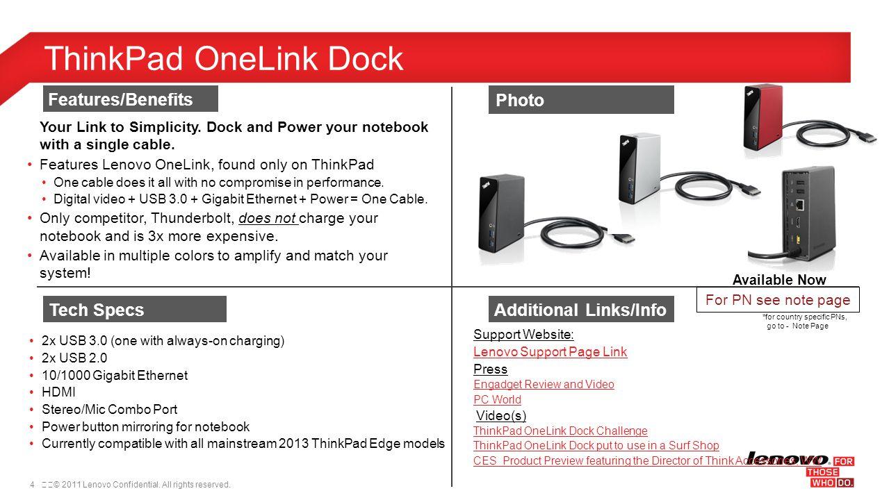 ThinkPad OneLink Dock Features/Benefits Photo Tech Specs