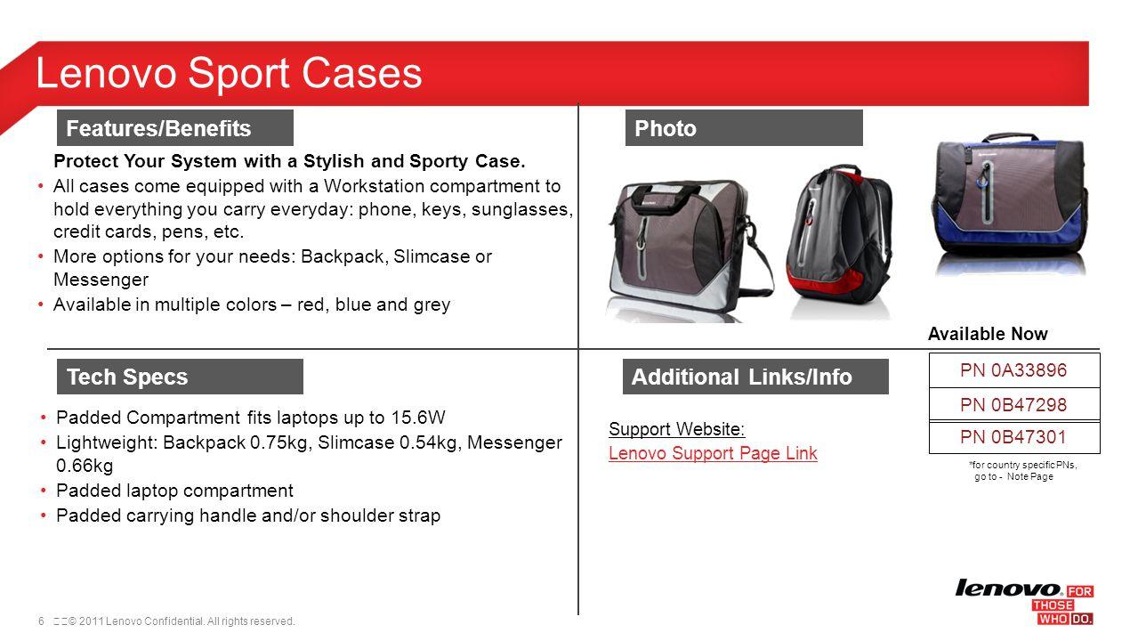 Lenovo Sport Cases Features/Benefits Photo Tech Specs
