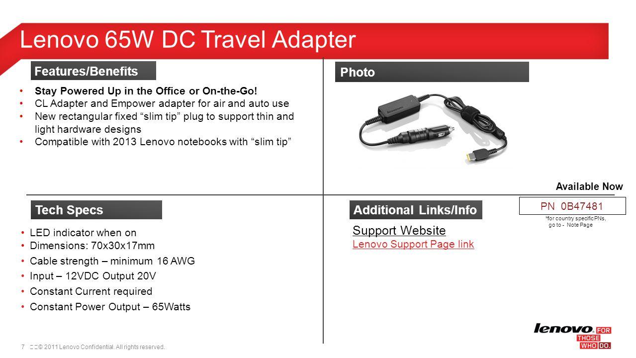 Lenovo 65W DC Travel Adapter
