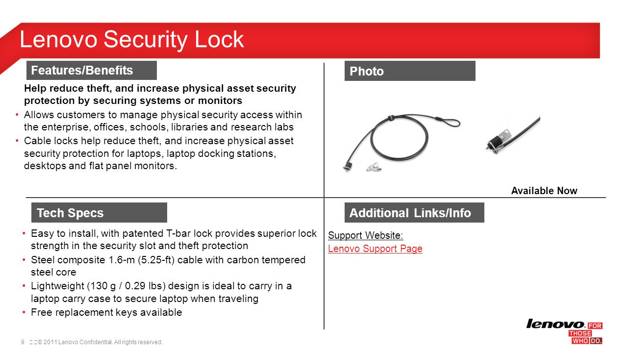 Lenovo Security Lock Features/Benefits Photo Tech Specs