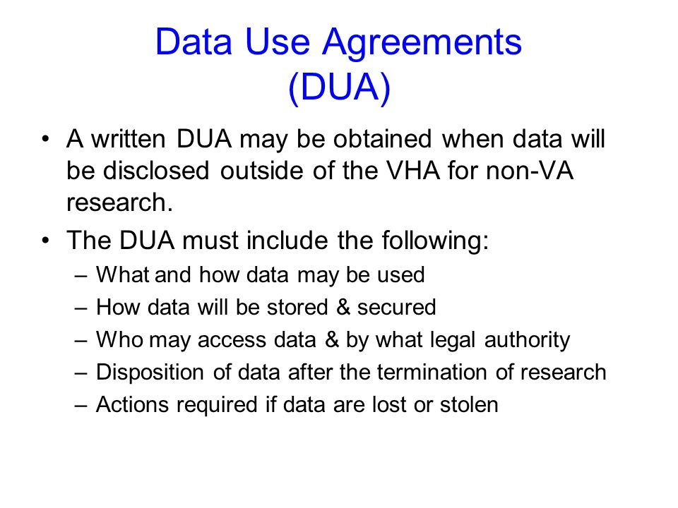 Data Use Agreements (DUA)