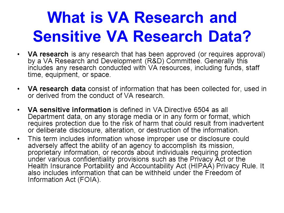 What is VA Research and Sensitive VA Research Data