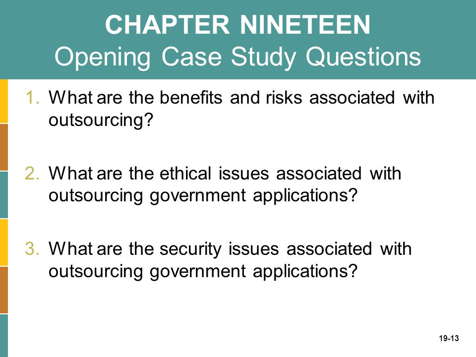 CHAPTER NINETEEN Opening Case Study Questions