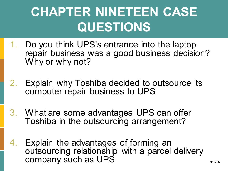 CHAPTER NINETEEN CASE QUESTIONS