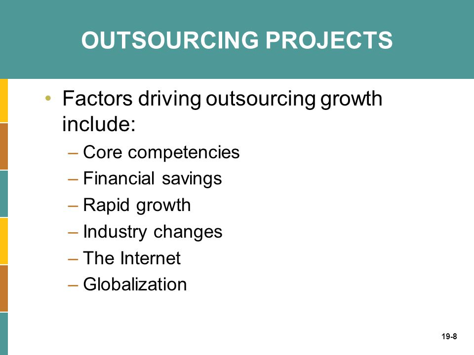 OUTSOURCING PROJECTS Factors driving outsourcing growth include: