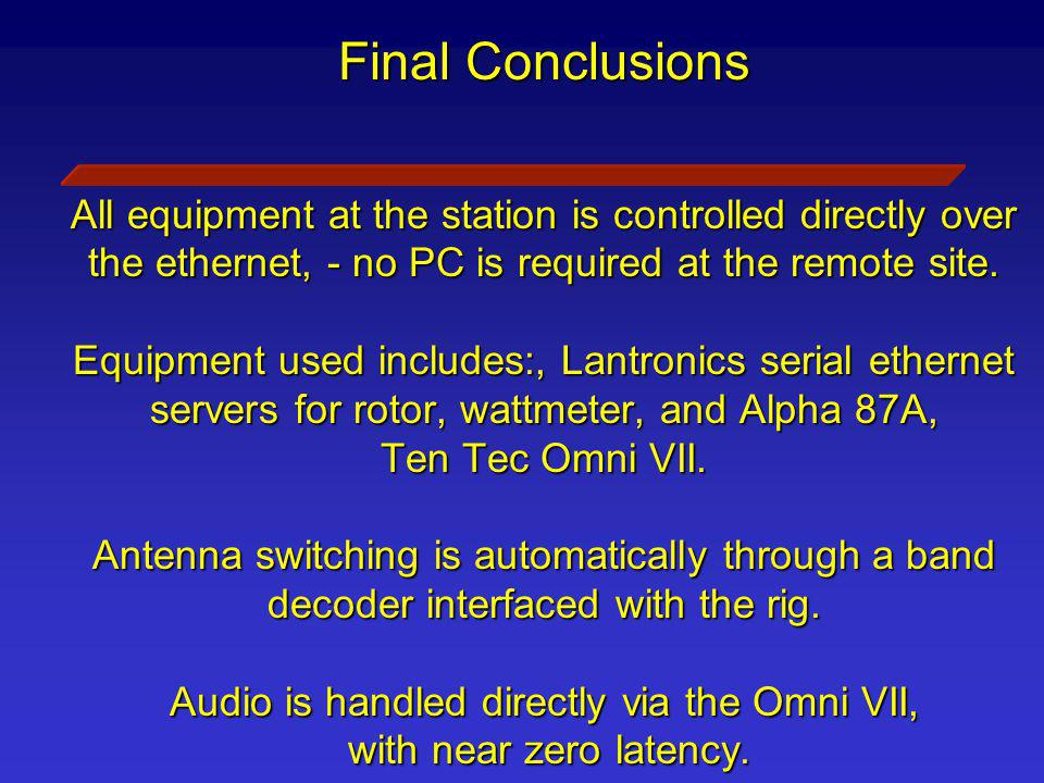 Final Conclusions All equipment at the station is controlled directly over the ethernet, - no PC is required at the remote site.