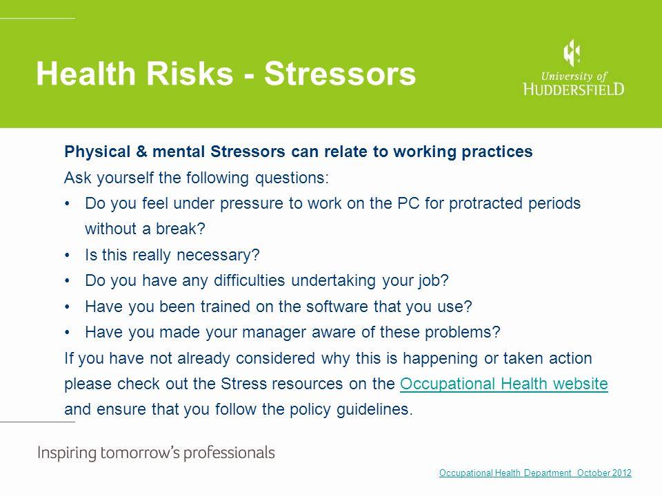 Health Risks - Stressors