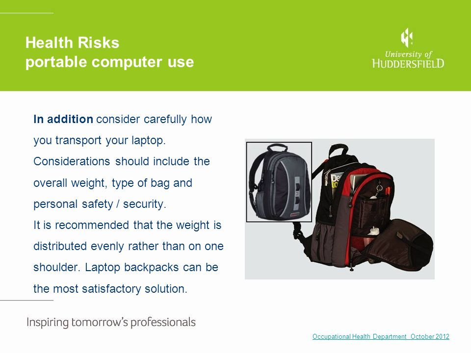 Health Risks portable computer use
