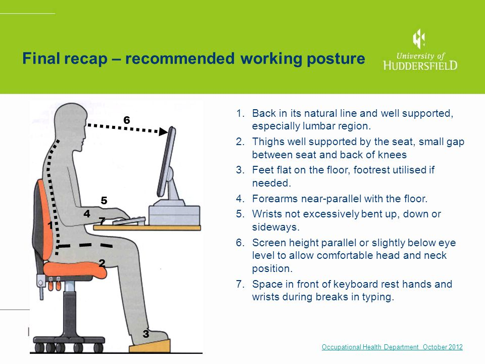 Final recap – recommended working posture