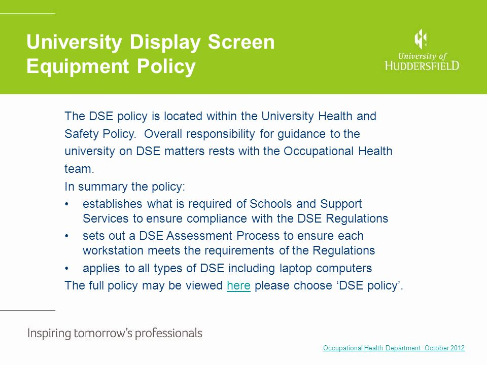 University Display Screen Equipment Policy