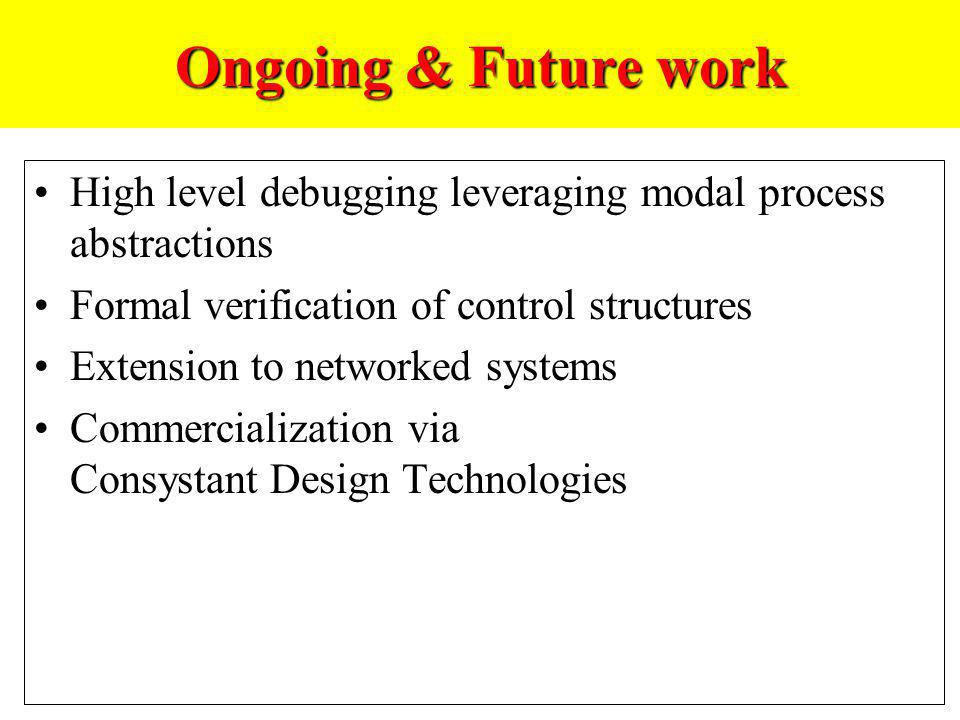 Ongoing & Future work High level debugging leveraging modal process abstractions. Formal verification of control structures.